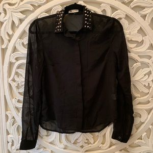 Sheer Spiked Button Down